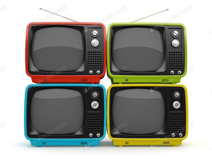 Multicolored retro TV isolated on white background