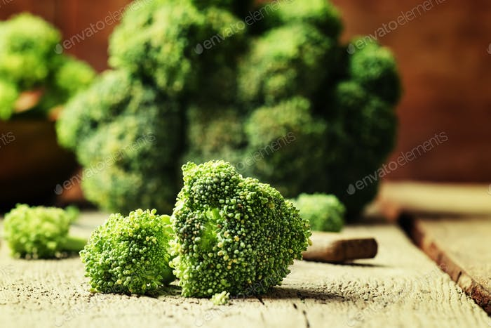 Pieces of broccoli, rustic style