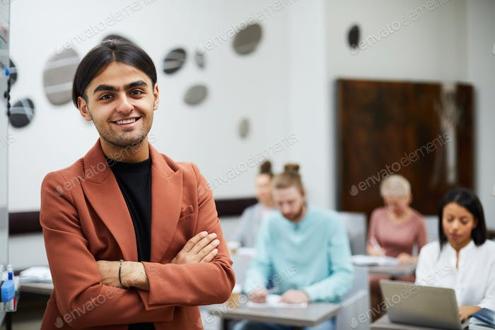 Mixed-race Student Posing in Class