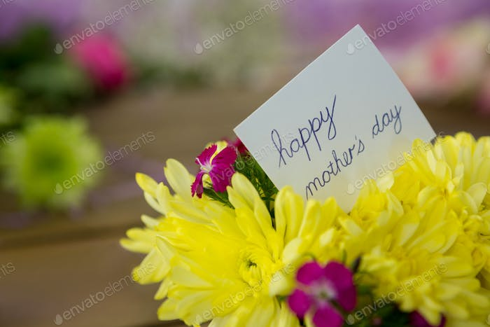 Happy mother day card on flowers