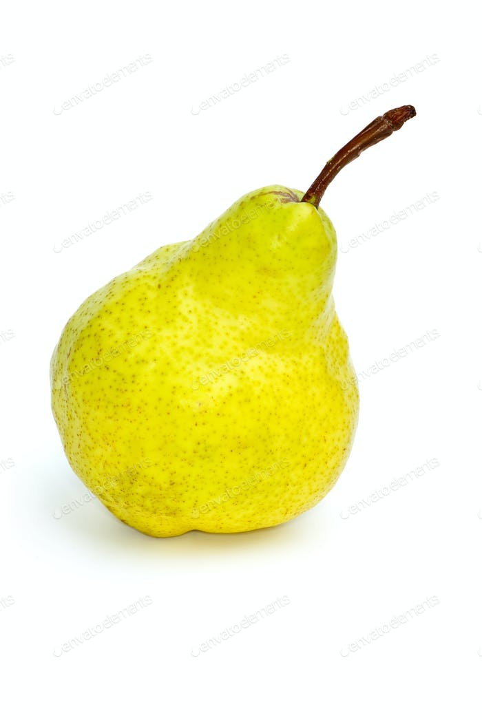 Single yellow-green pear