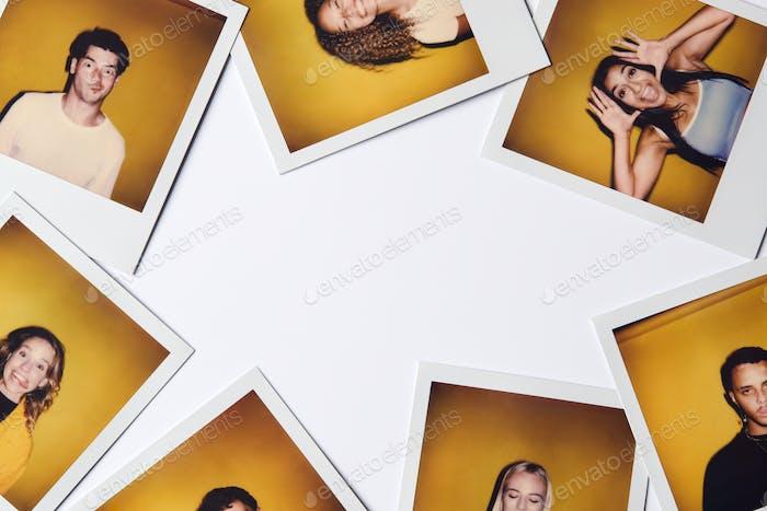 Instant Film Fotos von jungen Männern und Frauen für Modellierung Casting in Studio auf weißem Hintergrund