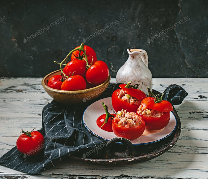 Traditional portuguese snack tomatoes stuffed with canned tuna
