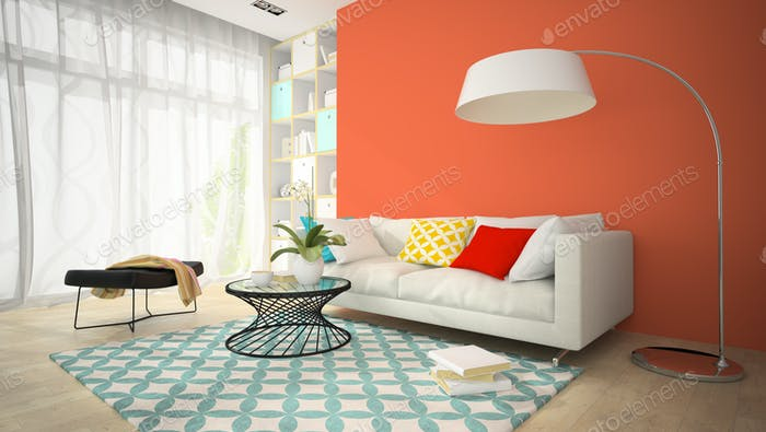 Interior of modern design room with red vase 3D rendering 4