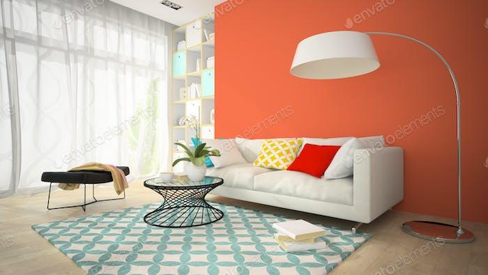 Interieur des modernen Design-Zimmer mit roten Vase 3D Rendering 4