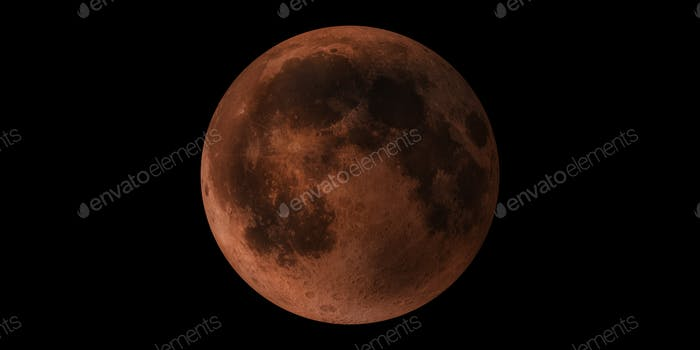 Blood Moon planet red full and new in outer space