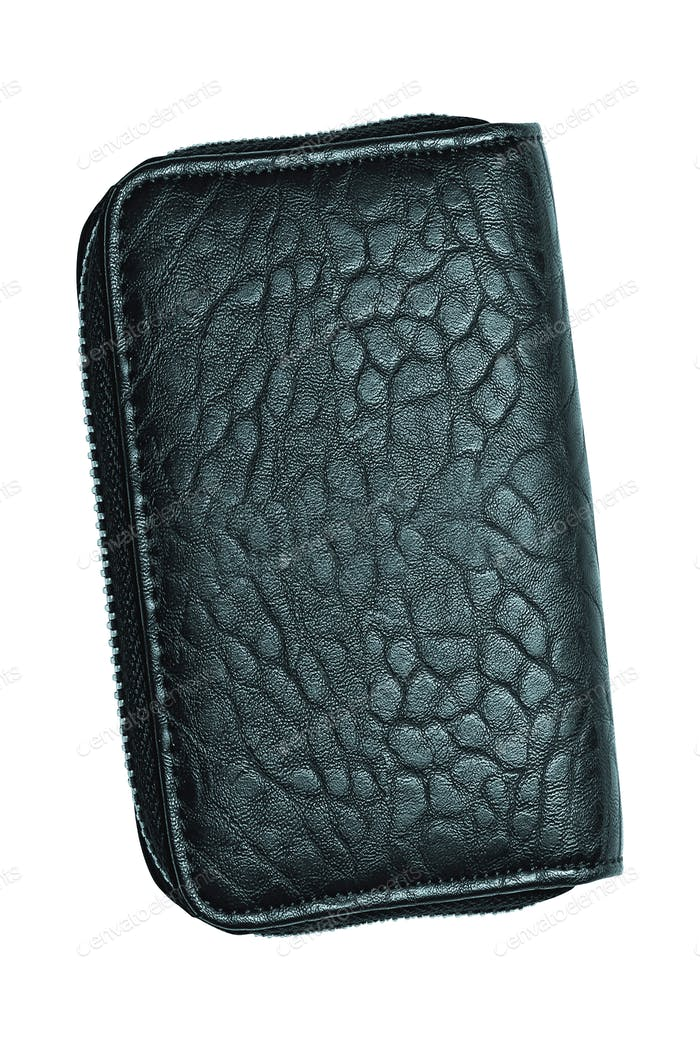 Closeup of black leather wallet