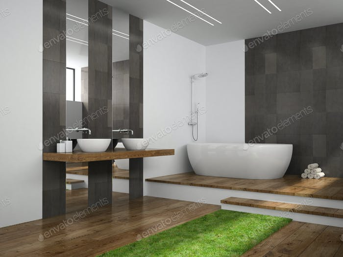 Interior of  bathroom with grass floor 3D rendering