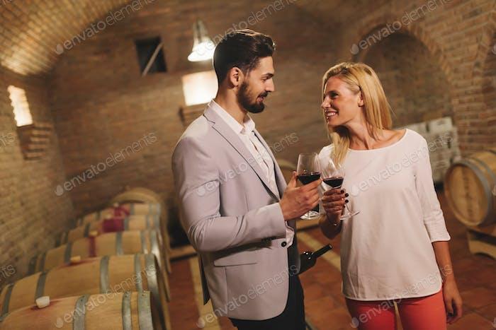Wine loving couple degustating wines