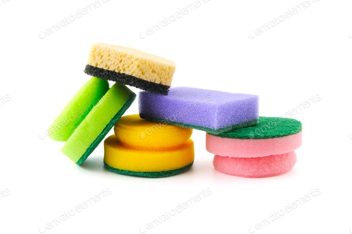 Various sponges for cleaning and dishwashing.