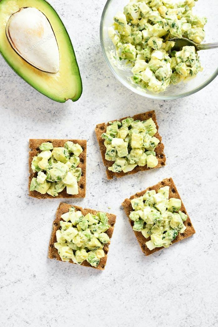 Avocado eggs salad on bread