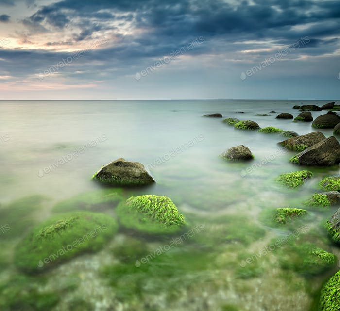 Green sea at sunrise