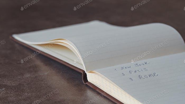 Notebook with written text