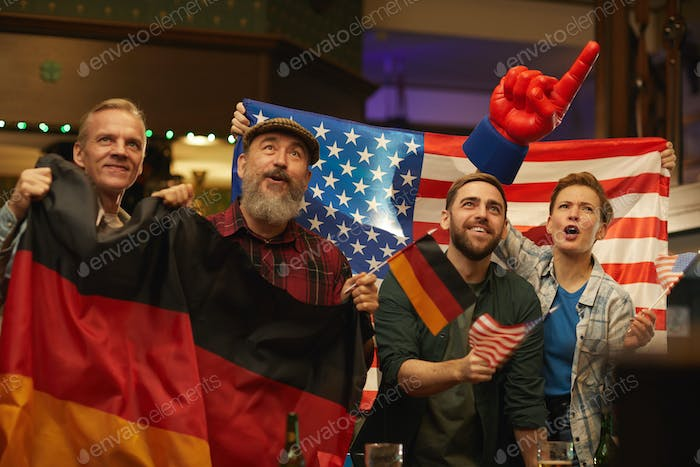 German and American fans in the bar