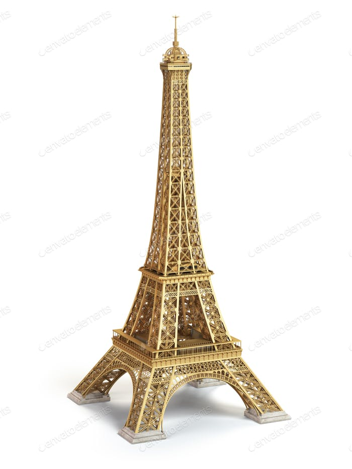 Eiffel Tower golden isolated on a white background.