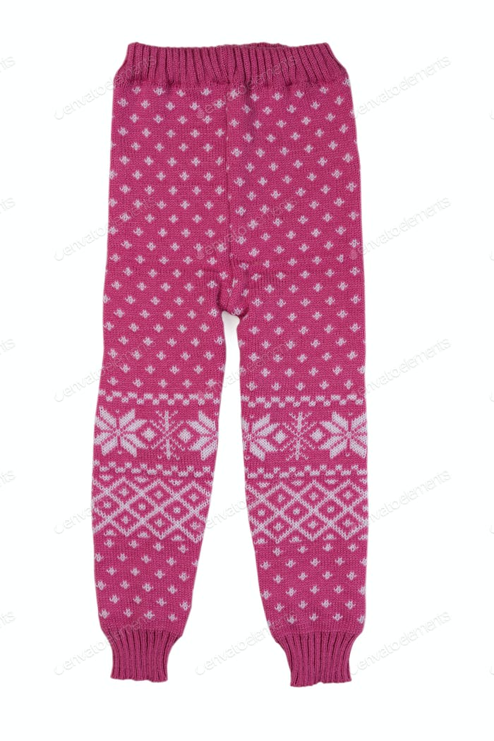 pink hildren wool pants, isolate