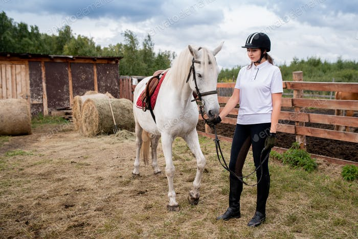 Young woman in equestrian helmet and sportswear chilling out with her racehorse