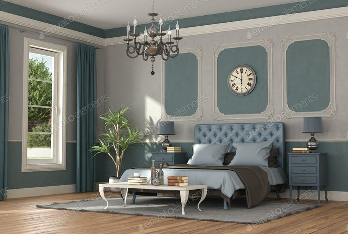 Elegant blue and gray master bedroom in classic style - 3d rendering