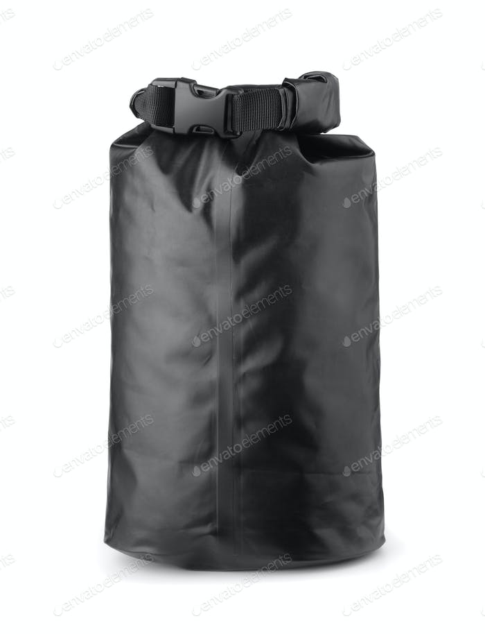 Black plastic waterproof dry bag