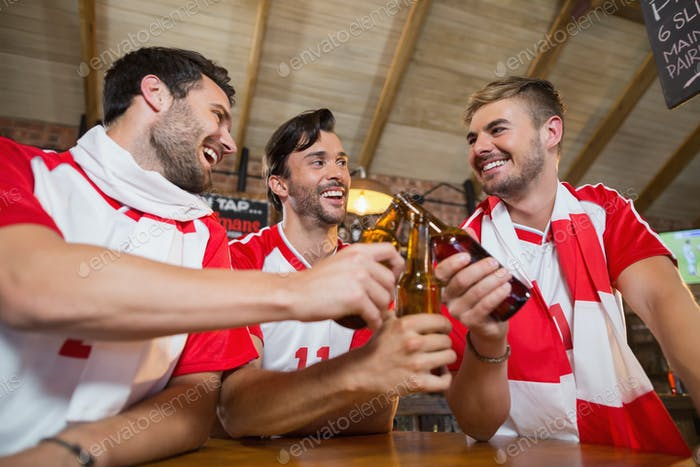 Cheerful male friends toasting beer bottles
