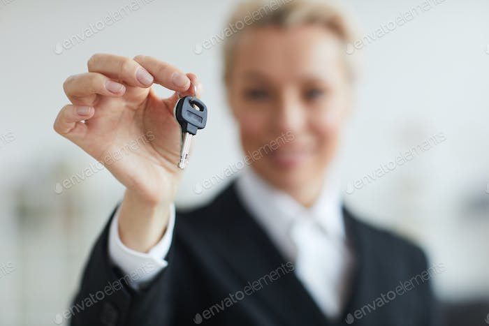 Woman with keys from home