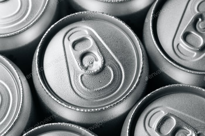 Fresh cold cans of soft drink