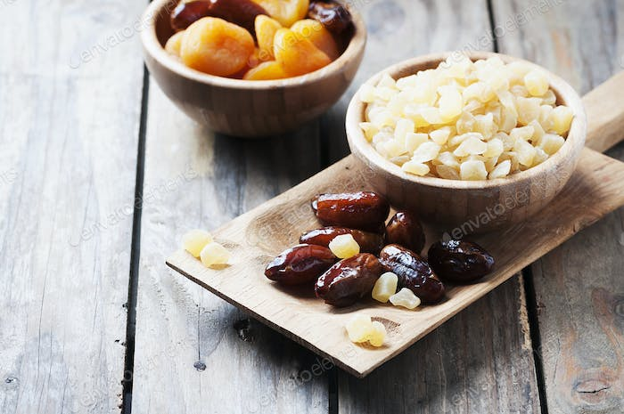 Mix of dried fruits on the table