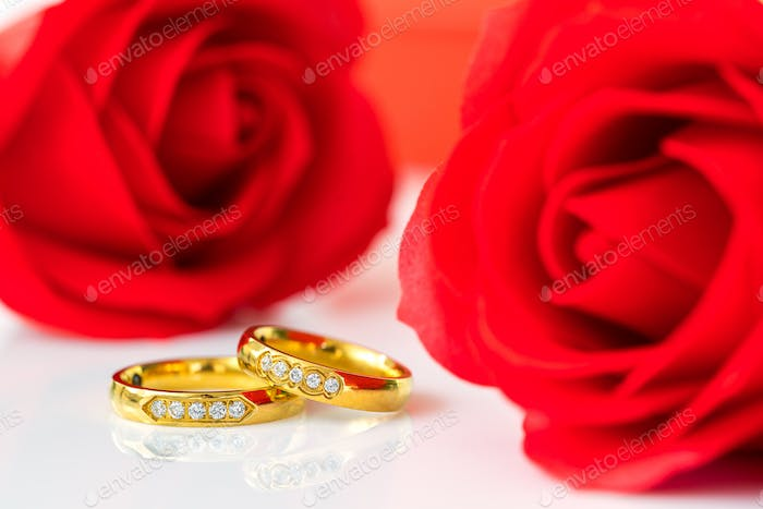 Red roses and gold rings on white_-11