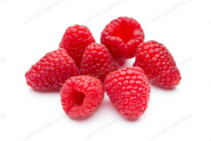 Raspberry isolated on the white background.