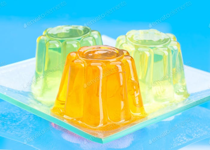 colored gelatins on blue background