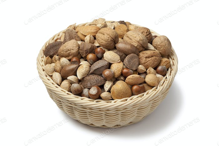 Basket with mixed nuts