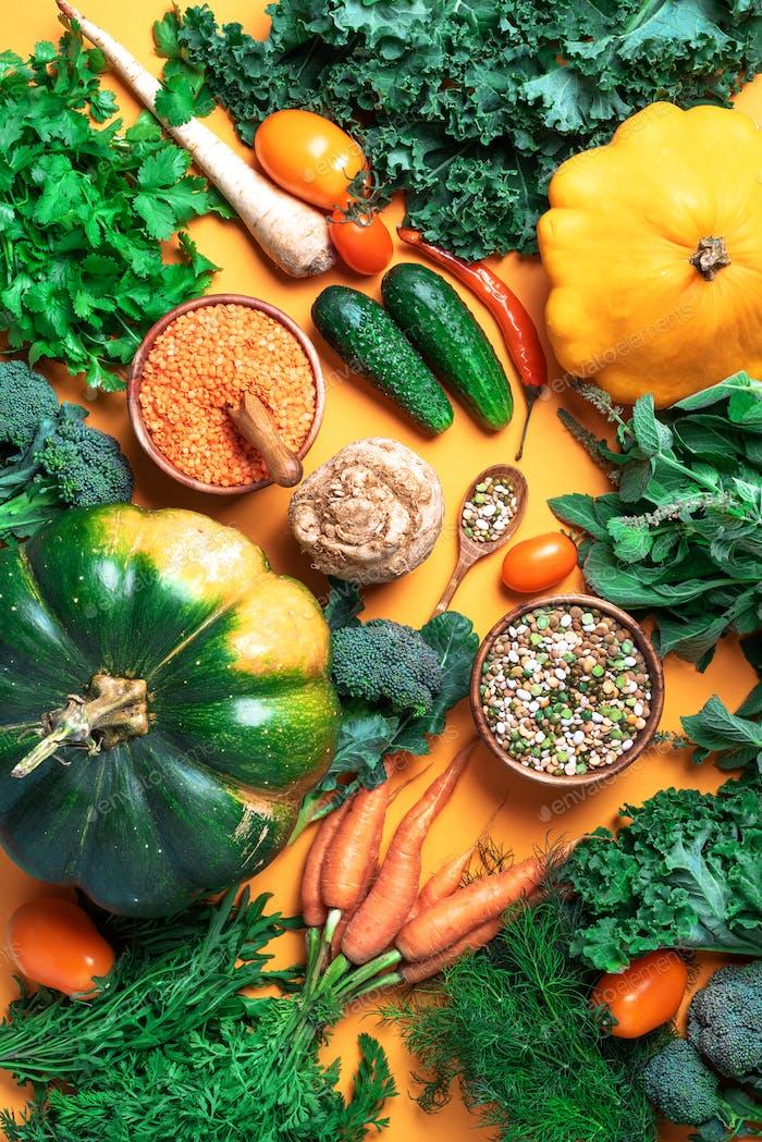 Vegan and vegetarian diet, harvest concept. Autumn vegetables, lentils, beans, raw ingredients for