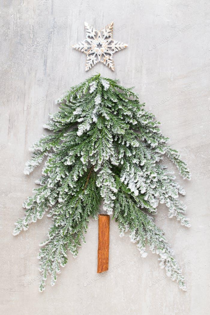 Christmas tree flat lay.