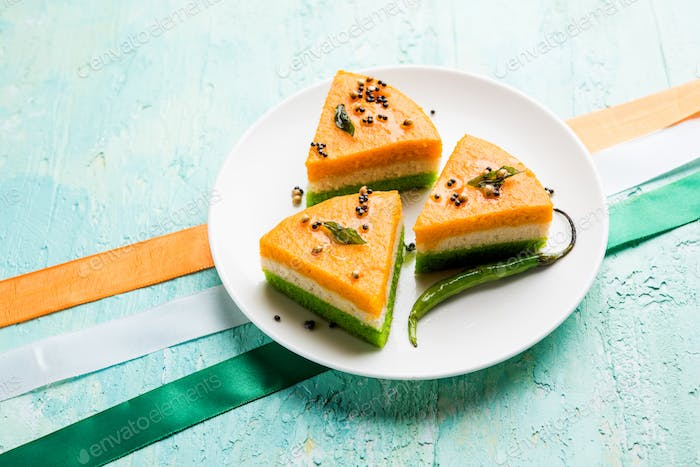 Tri coloured dhokla for Indian national day celebration