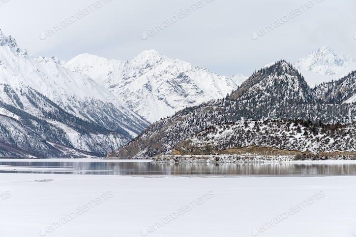 ice lake landscape in tibet
