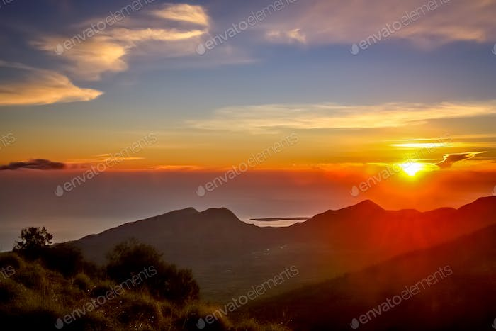 Stunning sunrise in Lombok