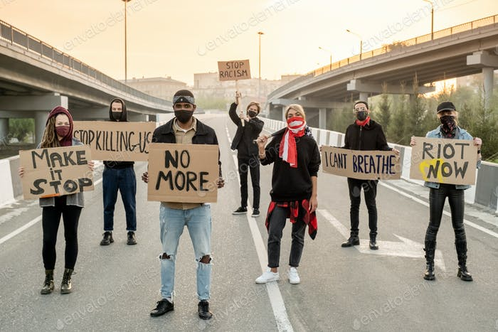Group of protestors on road