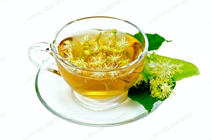 Herbal tea from linden flowers in a cup