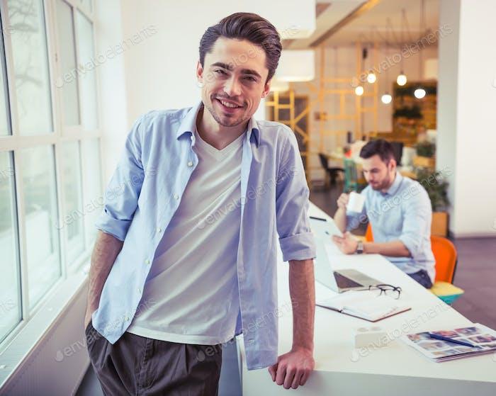 Handsome men working