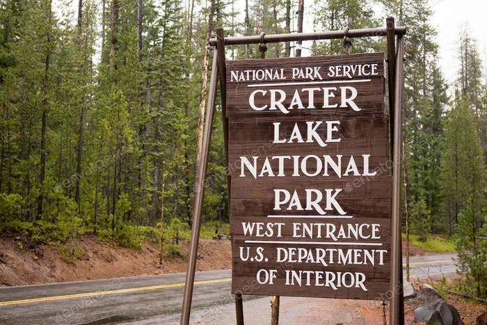 Crater Lake National Park Entrance Sign Oregon State