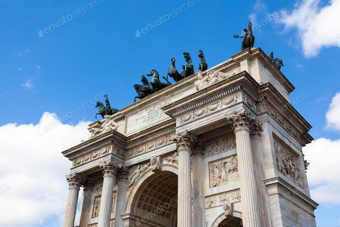 Triumph Arc - Arco Della Pace in Sempione park in Milan, Italy