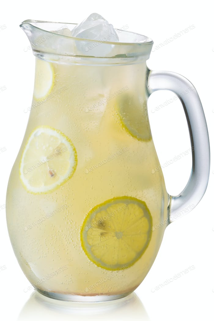 Iced lemonade pitcher isolated, paths