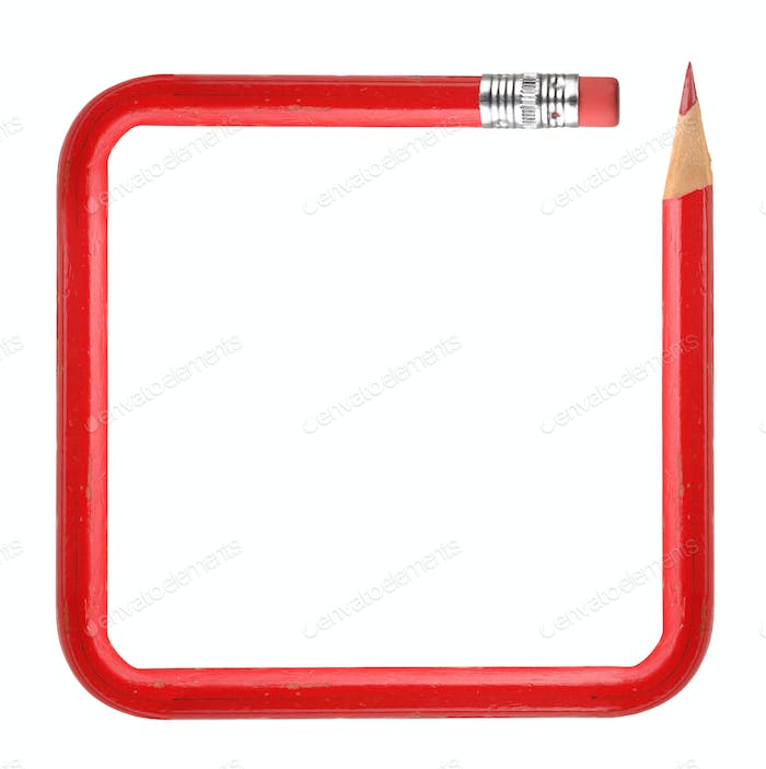 Frame with red pencil