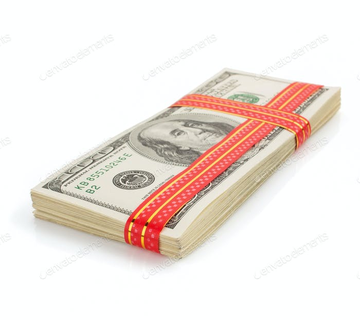 dollars money banknotes on white
