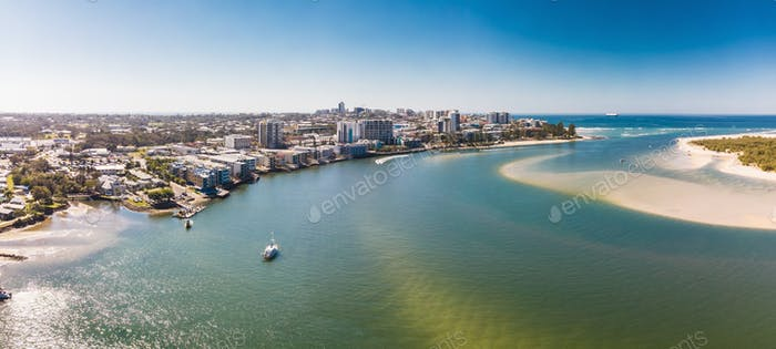 Aerial drone view of Pumicestone Passage, Bribie Island and Calo