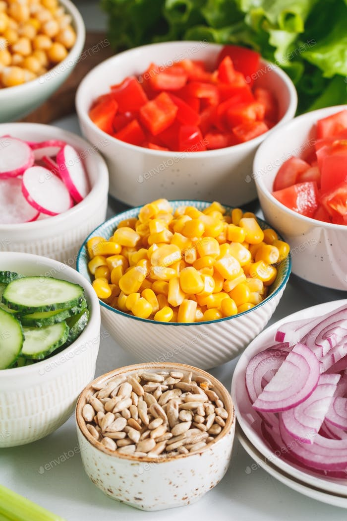 Various ingredients for healthy vegetarian salad