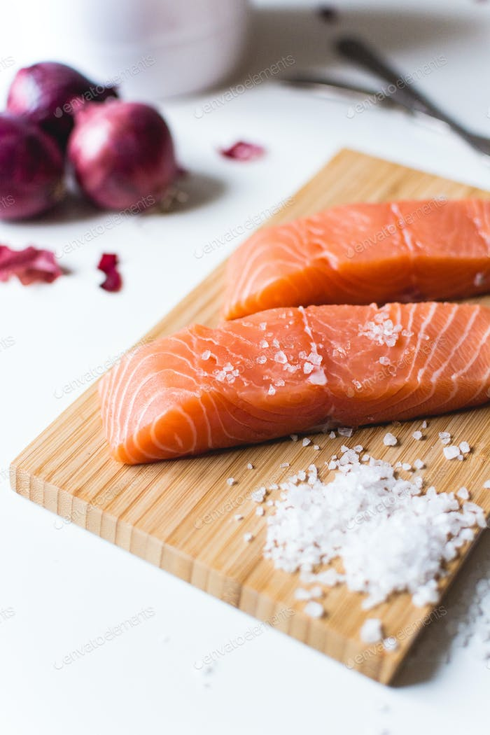 Thumbnail for Raw salmon fillets prepared for cooking