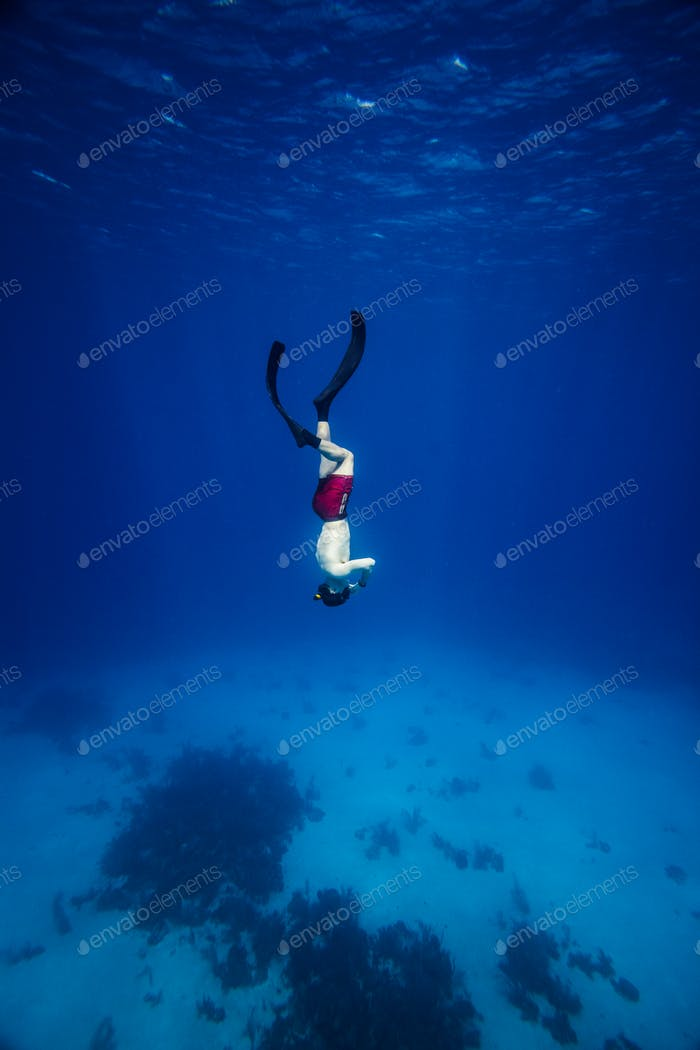 Underwater image of a Freediver with fins
