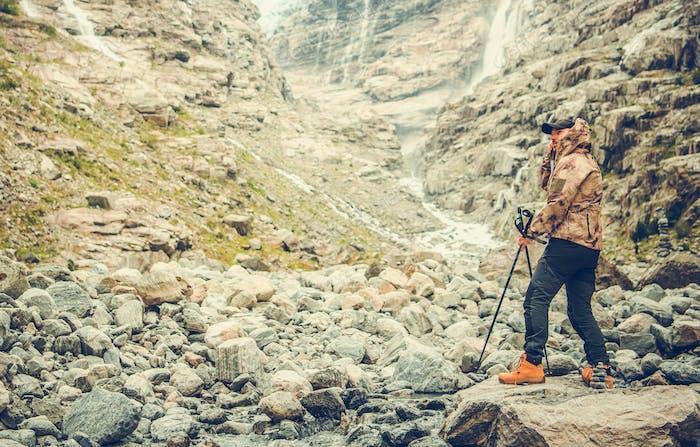 Hiker Enjoying Raw Landscape