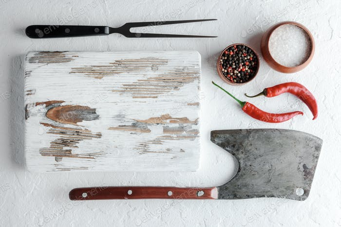 Old rustic white wood board
